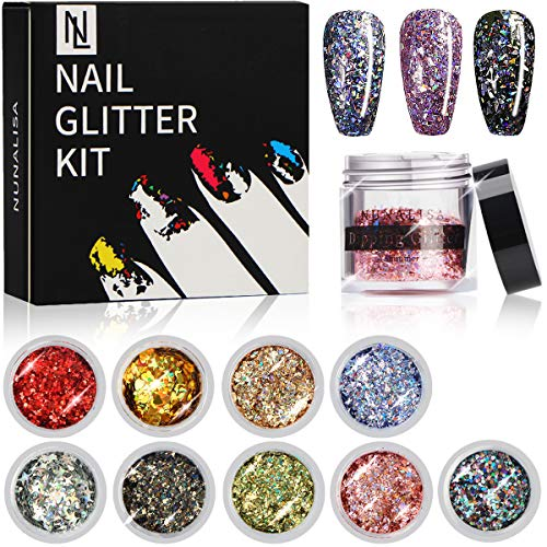 Nail Giltter Power Kit, NunaLisa 9 Boxes Chunky Glitter Nail Sequins Iridescent Flakes Colorful Mixed Paillette Festival Glitter Christmas Cosmetic Face Hair Body Makeup Glitter Nail Art