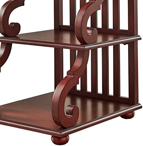 TRIBECCA HOME Lorraine Wood Scroll End Table in Berry Red
