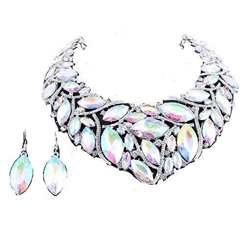 African Beads Jewelry Sets Women Bridal Crystal Statement Necklace Earring Jewelry Sets (Silver AB Color)