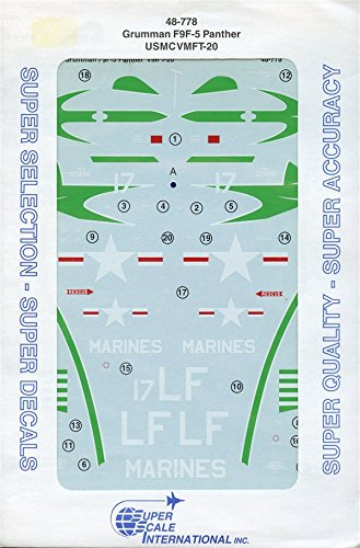 5 F9f Panther Grumman - SuperScale Decals 1:48 Grumman F9F-5 Panther USMCVMFT-20 #48-778