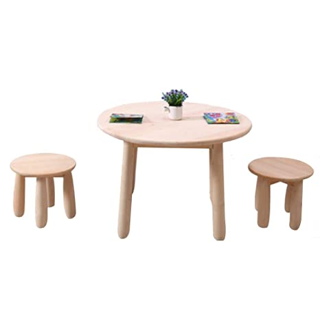 Amazon.com: ZH Kids Solid Wood Round Table with 4 stools ...