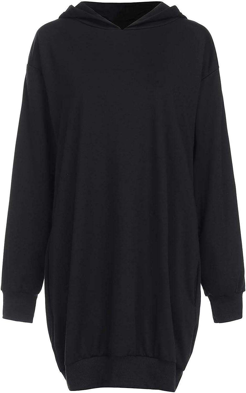 Furpazven Damen Kapuzenpullover Langarm Sweatshirts Hoodie Kleid Pullover Tops mit Taschen