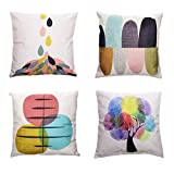HF Collection Cotton Linen Throw Pillow Cases 18'' x 18'' Decorative Cushion Covers Simple Style for Sofa, Bed, Couch Set of 4
