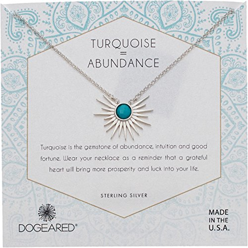 Dogeared Women's Detailed Sun Rays Pendant with Turquoise Stone Necklace Sterling Silver One Size