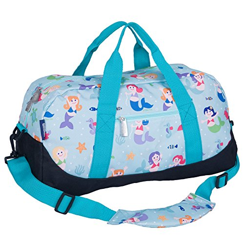 Wildkin Overnighter Duffel Bag, Features Moisture-Resistant Lining and Padded Shoulder Strap, Perfect for Sleepovers, Sports Practice, and Travel, Olive Kids Design - Mermaid