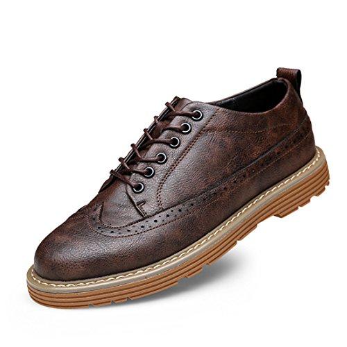 Mens Tillfälligt Arbete Spets-up Klassiska Flerfärgade Läder Vintage Oxford Skor 177-1 Brun