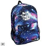 FANMURAN–BTS cielo estrellado patrón mochila bolsa de lona KPOP mochila de nailon, Azul