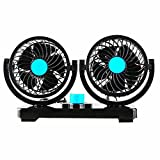 12v Fans Cooling Air Fan with Dual Heads 360 Degree Rotation Adjustable Design Powerful Electric Fan with 2 Rotatable Speed Fits for Truck Car