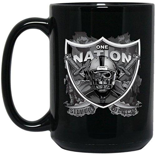 Las Vegas Raiders Coffee Mug | Raiders Mug | One Nation Silver & Black | 15 oz Ceramic Cup Great For Tea & Hot Chocolate | NFL AFC National Football League | Unique Gift Idea For Any Raider Fan