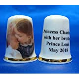 Birchcroft Porcelain China Collectable Thimble - Princess Charlotte Brother Prince Louis Box