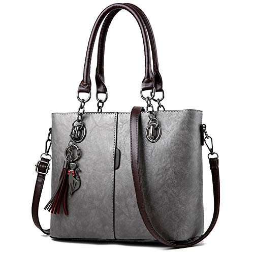 Stylish Grey Satchel Tote PU Leather Handbag Bag Purse Top Shoulder Handbags Women for Handle Hobo waqCUC