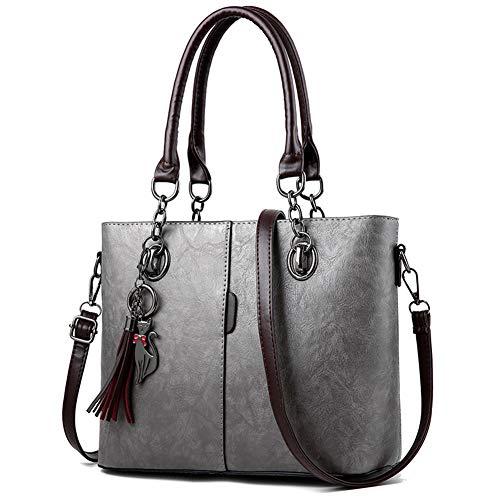 Top Handle Leather Shoulder PU Handbag for Tote Handbags Hobo Purse Grey Women Bag Satchel Stylish WnqSqPZ