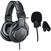 Audio-Technica ATH-M20x Professional Studio Monitor Headphones Deluxe Bundle