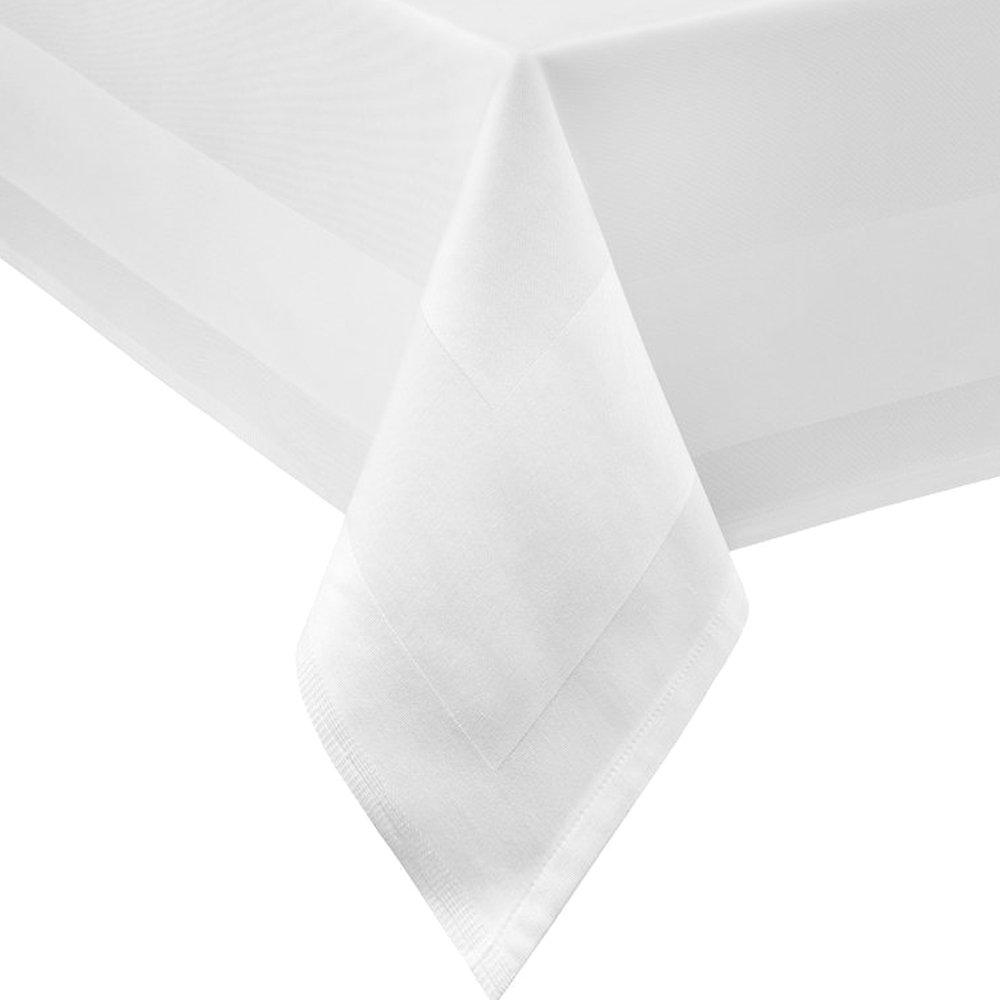 Damask Tablecloth Square 140 x 180 140 x 180 cm white satin border 100% Cotton Table Linen TextilDepot24
