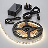 Warm White LED Strip with Power Supply and Plug 5 Meter Waterproof IP65 3M Tape