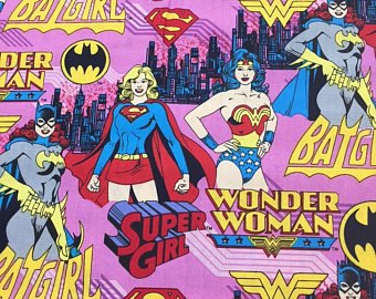 SUPER HERO GIRL FAT QUARTER PINK 100% Cotton Fabric]()