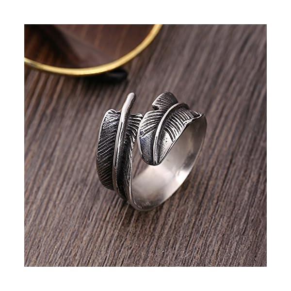 Anello aperto di piume,anello di apertura in acciaio al titanio a forma di piuma, gioielli da dito alla moda da uomo, anelli di apertura in acciaio al titanio a forma di piuma