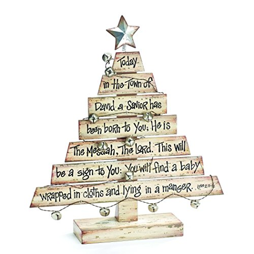 Rustic Wooden Plank Christmas Tree with Christmas Story Tabletop Holiday Decoration (Holiday Rustic Decor)