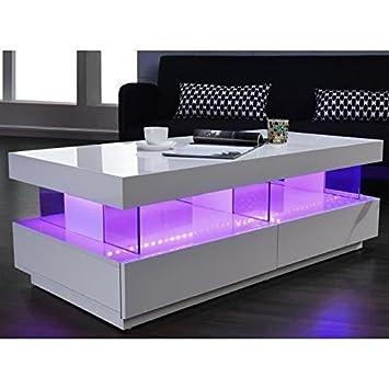 Generique Light Table Basse 120cm Laquee Blanc Brillant Led