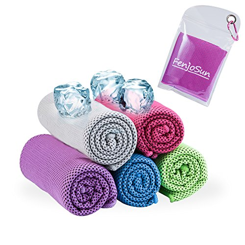 Cooling towel, FenjoSun Cool towel Ice for Instant Relief for Travel Sports Gym Beach Camping Golf Cycling Mountaineering Hiking Easy Carrying