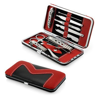 Manicure Set Nail Clippers Cleaner Cuticle Grooming Kit Case 10 PCs