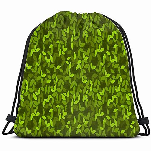 (Leaves Evergreen Drawstring Backpack Gym Dance Bags For Girls Kids Bag Shoulder Travel Bags Birthday Gift For Daughter Children Women)