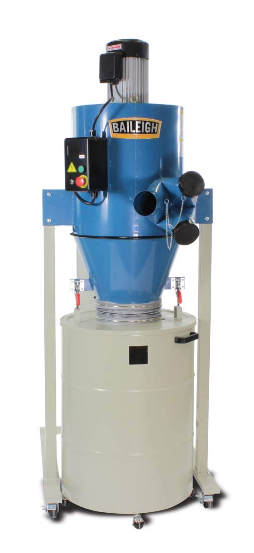 Baileigh DC-2100C Cyclone Style Dust Collector, 2111 CFM, 63 gal Drum, 3 hp, 220V, 1 pH