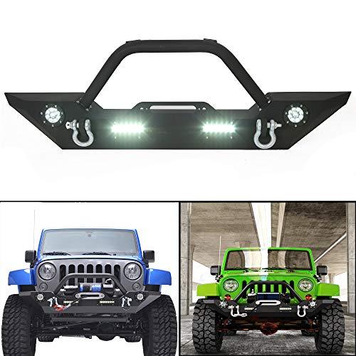 Rock Crawler Front Bumper w/LEDLight Winch Plate Black Textured for 2007-2019 Jeep Wrangler JK Wiring (Harness is Included)