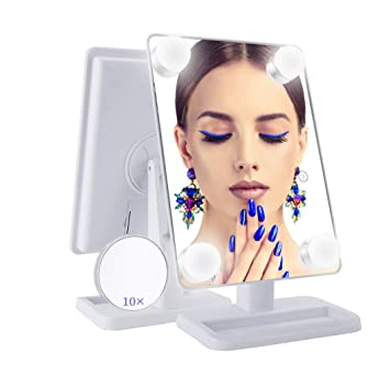 Touch Controlled Vanity Mirror with 12 x 3W Dimmable LED Bulbs VIVOHOME Hollywood Lighted Makeup Mirror with 3 Different Lighting Modes White