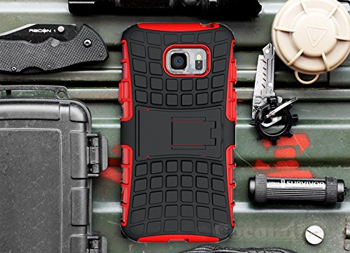 Galaxy S7 Case, Cocomii Grenade Armor NEW [Heavy Duty] Premium Tactical Grip Kickstand Shockproof Hard Bumper Shell [Military Defender] Full Body Dual Layer Rugged Cover Samsung (Red)