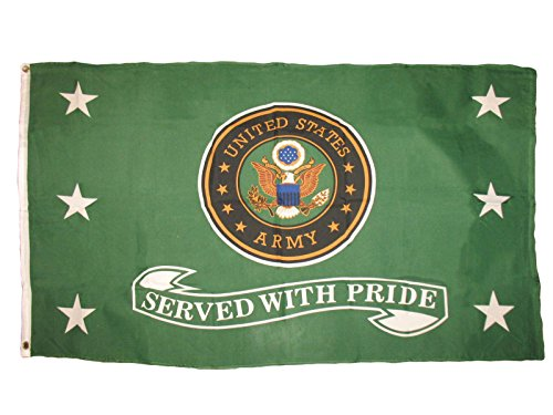 (ALBATROS 3 ft x 5 ft US Army Green Served with Pride Premium Flag Veteran House Banner for Home and Parades, Official Party, All Weather Indoors Outdoors)