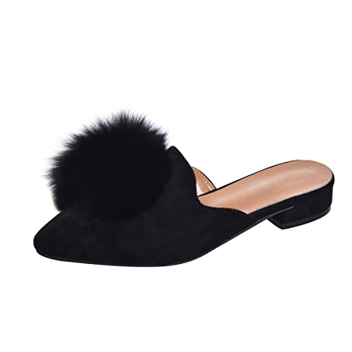 efd5e173a Yellow Tree Company Women's Pom Pom Slides Mules Pointed Toe Backless  Loafers Ladies Clog Slippers
