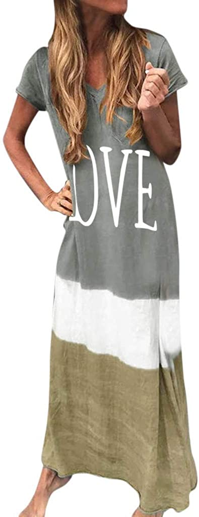 Dresses for Women Tie-Dyed Color Block Maxi Dress Letter Print Casual Loose V Neck Long Sundress