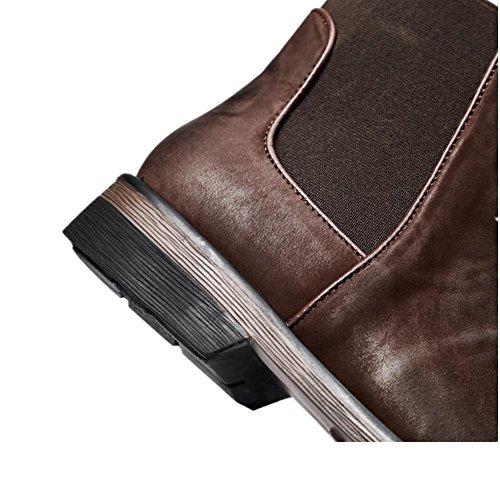 Parte Caviglia Uomini Britannico Tempo spessore Macchia Stivali Chelsea Nero balestruccio Pelle alto Di Retro libero Scarpe Brown inferiore Inverno Marrone Autunno UYU51qrS