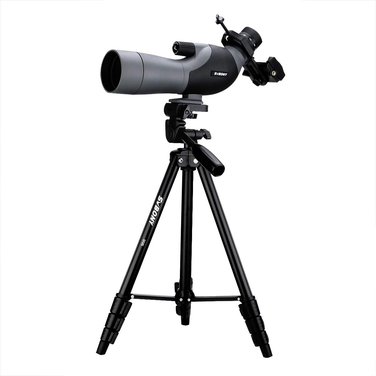 SVBONY SV402 Spotting Scope with Tripod and Phone Adapter 16-48x60mm FMC 45 Degree Angled Eyepiece for Bird Watching Hunting Target Shooting Hunting by SVBONY