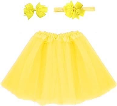 WMFL - Falda - para niña Amarillo Amarillo Talla única: Amazon.es ...