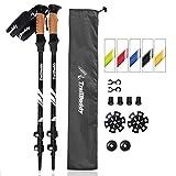 TrailBuddy Trekking Poles - 2-pc Pack Adjustable Hiking or Walking Sticks - Strong, Lightweight Aluminum 7075 - Quick Adjust Flip-lock - Cork Grip, Padded Strap - Free Bag, Accessories (Raven Black)