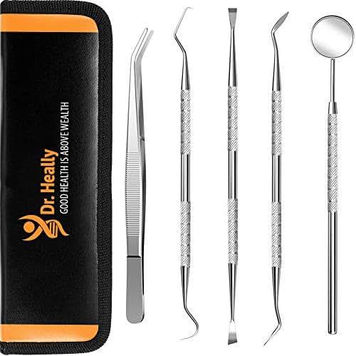 Dental Tools to Remove Plaque and Tarter - Dental Pick Professional - Dental Hygiene Kit Tool - Dental Hygienist tools - Dental Instruments Stainless Steel - Dental Kit for Adults - Dog Dental Kit Set