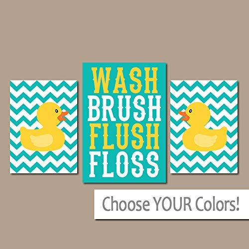 Venu67Hol Rubber Duckie Bathroom Turquoise Yellow Duck Wall Art Canvas or Prints Girl Boy Child Bath WASH Brush Flush Chevron 3 Pieces Bath Decor 8x10 inch (Art Wall Print Chevron)