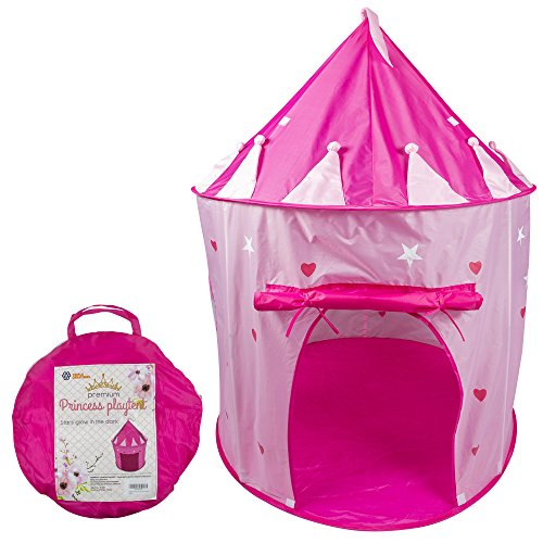 Kids Play Tent for Girls Princess Castle Playhouse with glow in the dark stars and Carry Case - Tents & Playhouses for Baby Toddler House Pink Foldable Premium Quality | Indoor and Outdoor use