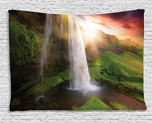 Ambesonne Waterfall Tapestry, Waterfalls at Fairy Sunset Sky in Iceland Scenic Spring Rural Wildlife Art Image, Wall Hanging for Bedroom Living Room Dorm, 60 W X 40 L Inches, Green Orange ()