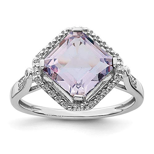 925 Sterling Silver Diamond Pink Quartz Square Band Ring Size 9.00 Gemstone Fine Jewelry Gifts For Women For Her