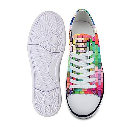 För U Designar Snygga Unisex Rand Wave Print Låg Topp Platta Skor Lätta Mode Sneaker Spets-up Multi B1