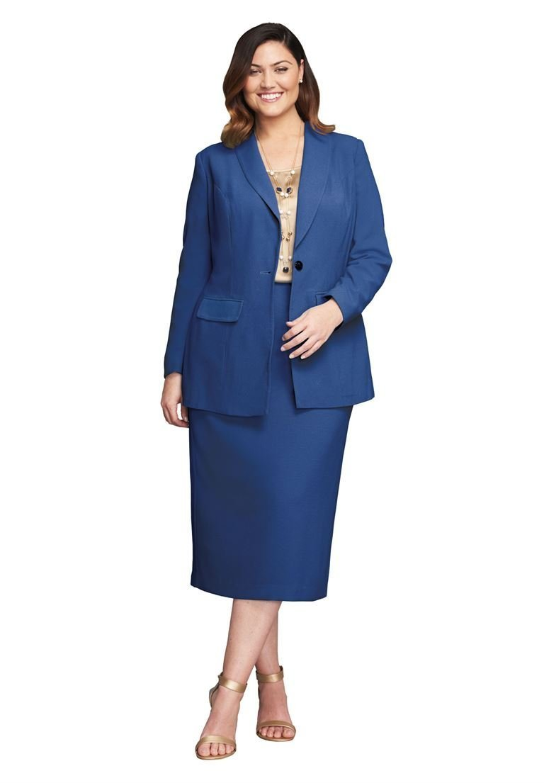 Jessica London Women's Plus Size 2-Piece Single-Breasted Skirt Suit Royal
