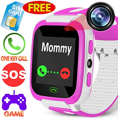 Kids Smart Watch Phone for Boys Girls - [Speedtalk SIM Included] Kidaily Kids Phone Watch Sport Tracker Camera 9 Games Touchscreen Outdoor Digital Wrist Watch Summer School Gift (Pink-1) by Kidaily