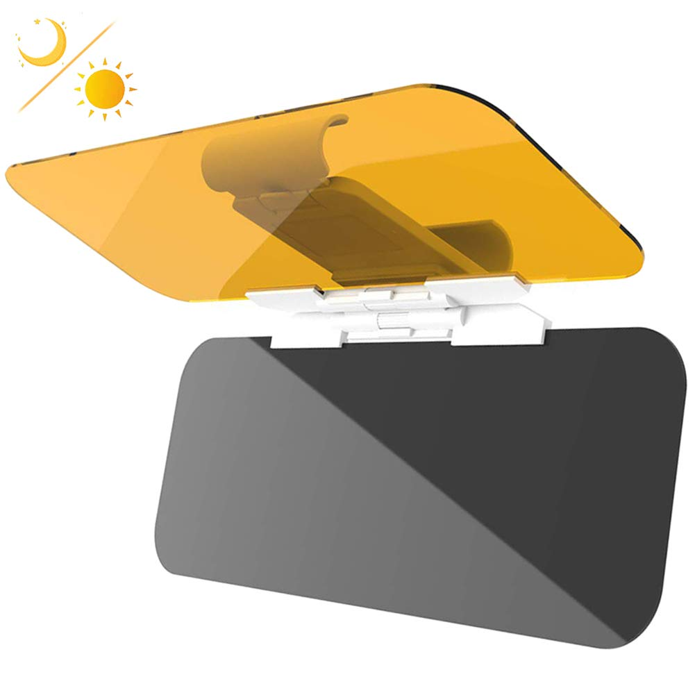 JSword Car Sun Visor Extender, Day and Night Vision Anti-Glare Driving Car Visor, 2 in 1 Sun Blocker for Eye Protector, Universal Automobile Anti-Dazzle Sunshade Windshield Extension by JSword