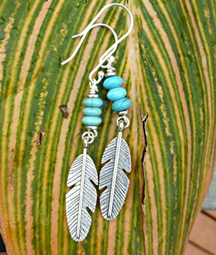 (Silver metal feather charms, Turquoise howlite stone earrings. Handmade bohemian, boho, southwest, jewelry, jewellery. Long, lightweight earrings. Sterling silver ear wires. Fashion, Accessories.)