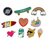 PunkStyle Novelty Animal Enamel Brooches Badge for Women Girls Children for Clothing Bag (Japanese Fun Colorful Brooch 10pcs)