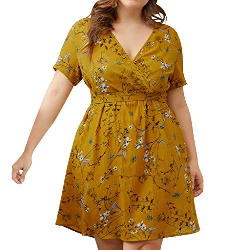 Women Belt Midi Dress | Vintage Floral Short Sleeve Casual Work Party Dress | Plus Size Pleated A-Line Swing Dresses (XXXL, Yellow)