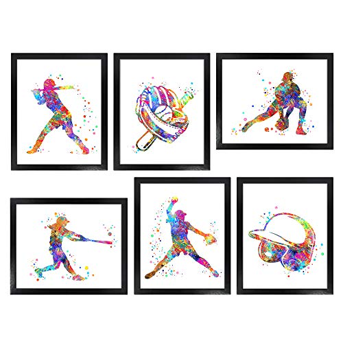 Dignovel Studios Unframed (Set of 6) 8X10 Watercolor Girl Baseball Softball Helmet Glove Ball bat Blazer Sport Art Print Bedroom Wall Art dnc4